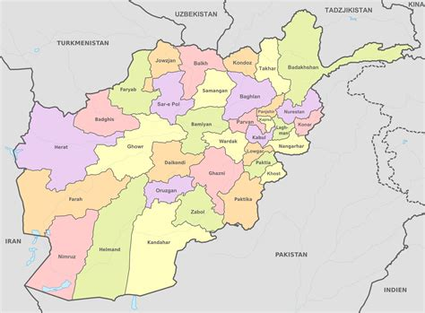 File:Afghanistan, administrative divisions - sv - colored