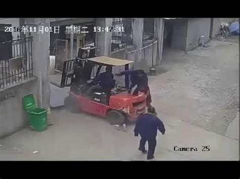 Woman crushed by forklift driver then rolled over - YouTube