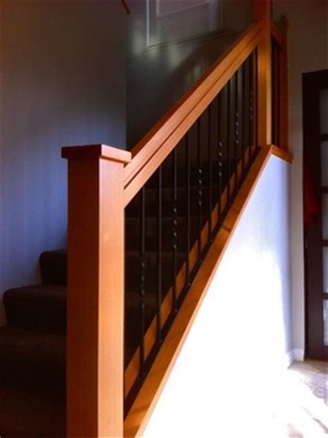 """Craftsman style staircase comprised of 1 5/8"""" square"""